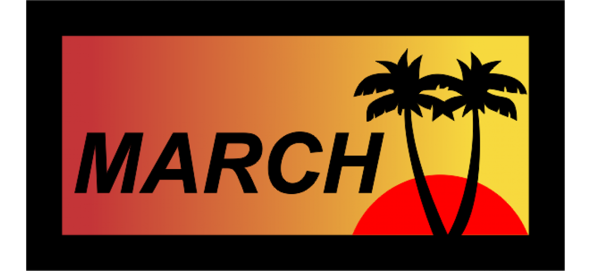 March with Sun and Palm Trees Pocket Tab